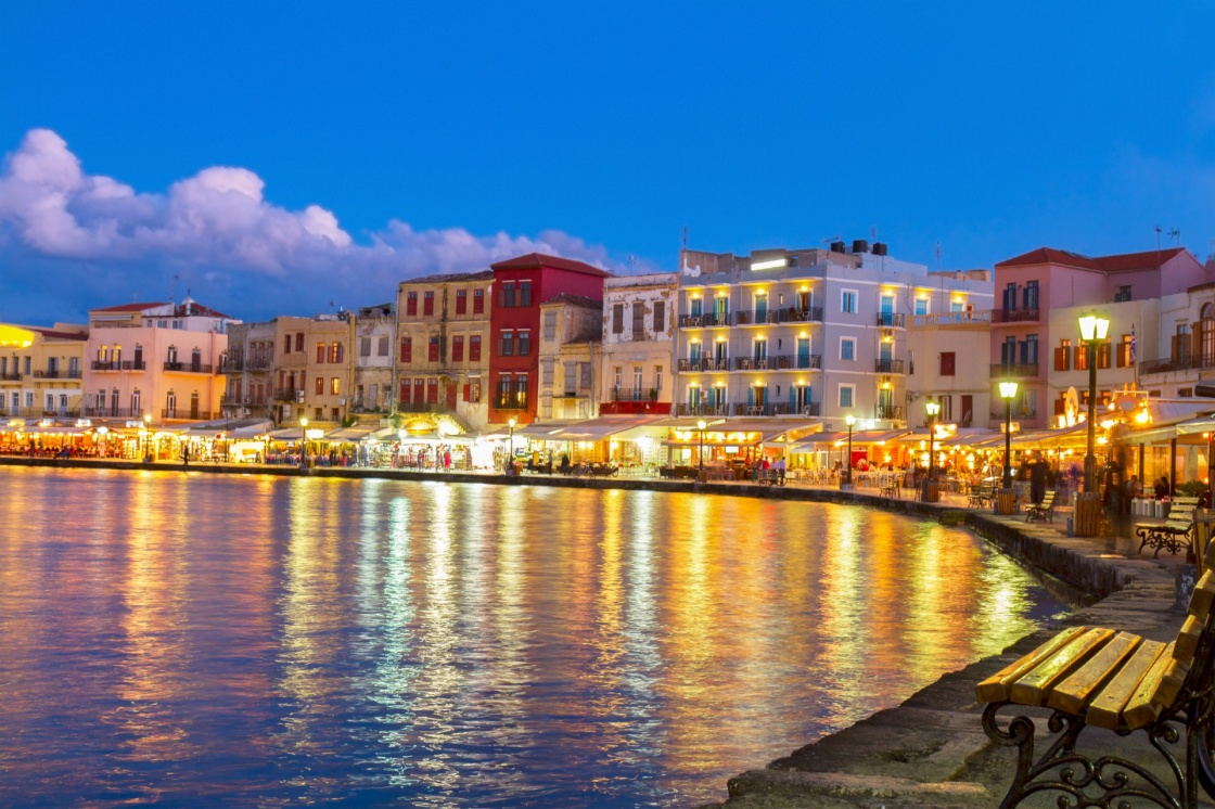 'illuminated venetian habour of Chania  at night, Crete, Greece' - Chania